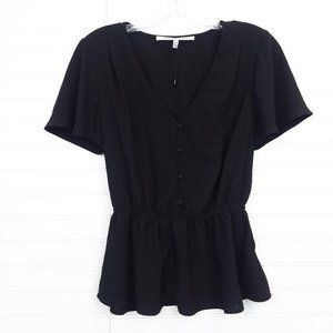 Collective Concepts Black Button Up Peplum Top